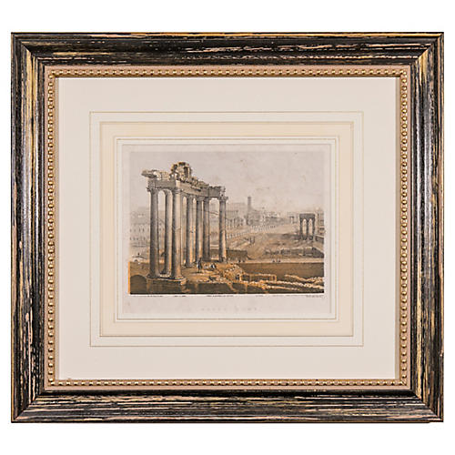 Antique Roman Ruins Engraving