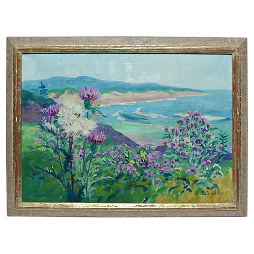Ocean View with Flowers by Anne Bradley