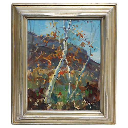 Birch Tree Landscape by Maria Liszt