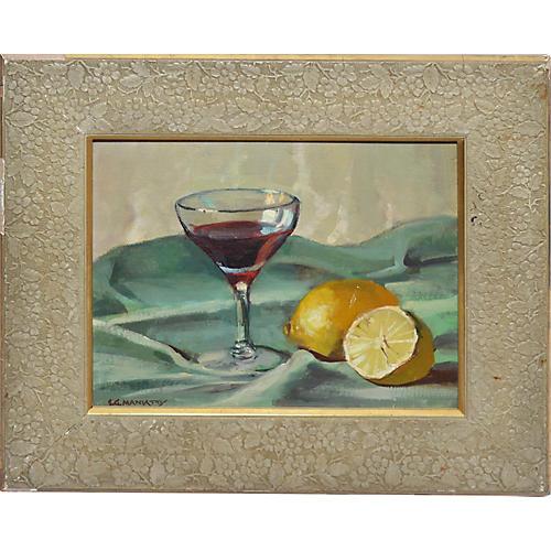 Modernist Lemon Still Life Painting