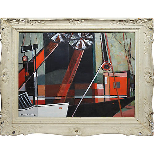 American Modernist Abstract Harbor View