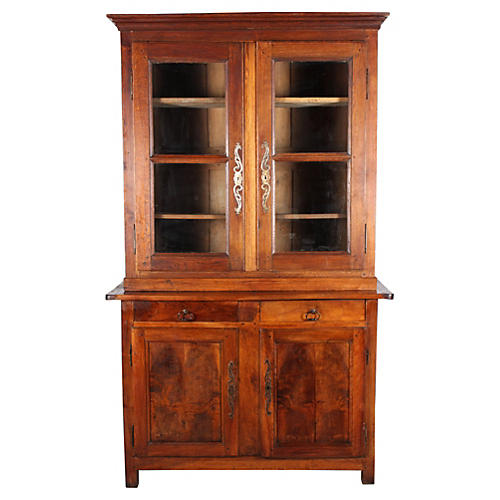 19th-C. Danish Walnut & Oak China Hutch