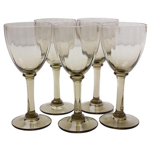 Midcentury Port-Wine Glasses, S/5