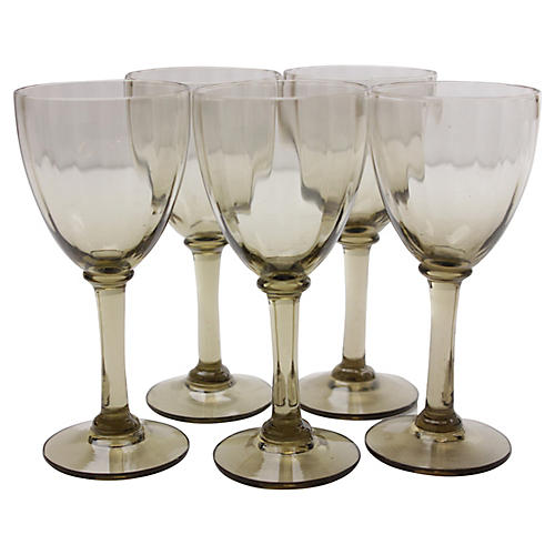 Midcentury Port-Wine Glasses, S/5