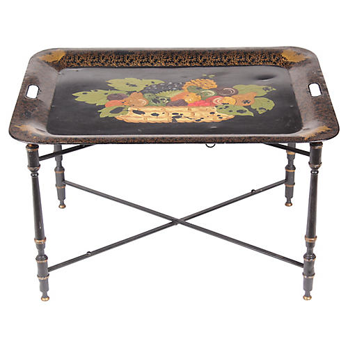 Late Victorian Toile Tray and Stand