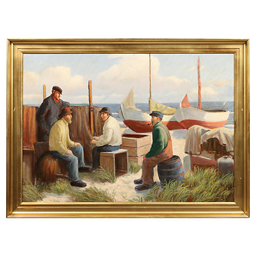 "Danish Oil Painting ""Sailors Resting"""