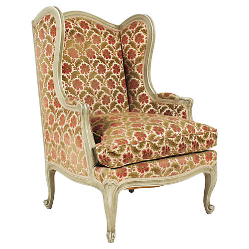 French Louis XV Style Wingback Chair