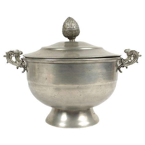 Antique Belgian Pewter Sugar Bowl