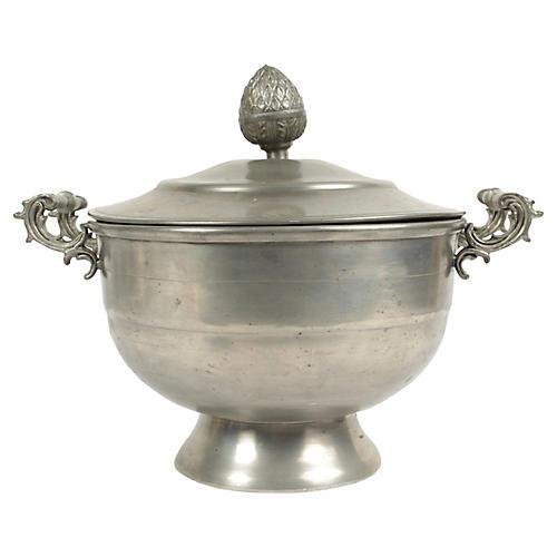 Antique Belgian Pewter Sugar Bowl