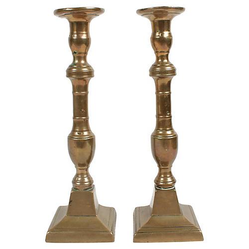 Antique Copper Candlesticks, Pair