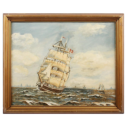 Danish Ship at Sea by J. Rasmussen