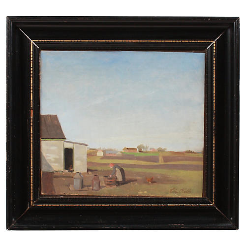 Early 20th c. Abstract Farm Scene