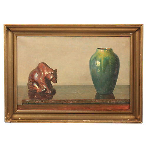 Still Life with Bear Sculpture and Vase