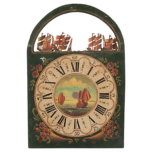 19th-C.Hand-Painted Nautical Dutch Clock