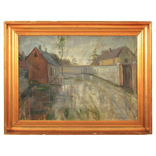 Expressionist Rainy Street Scene
