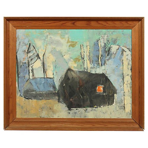 20th-C. Abstract House Oil Painting