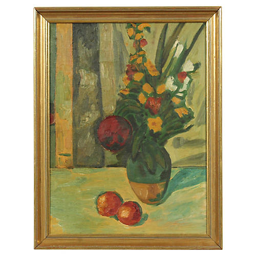 Still Life Oil Painting Vase and Fruit