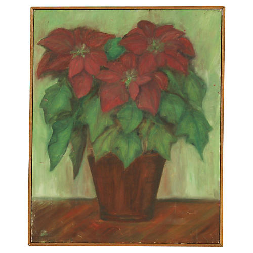Painting of a Poinsettia Still Life