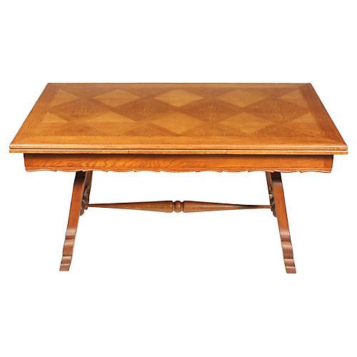 Diamond Inlay Trestle Dining Table
