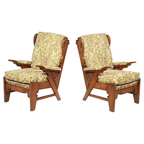 1930s French Neo-Gothic-Style Armchairs