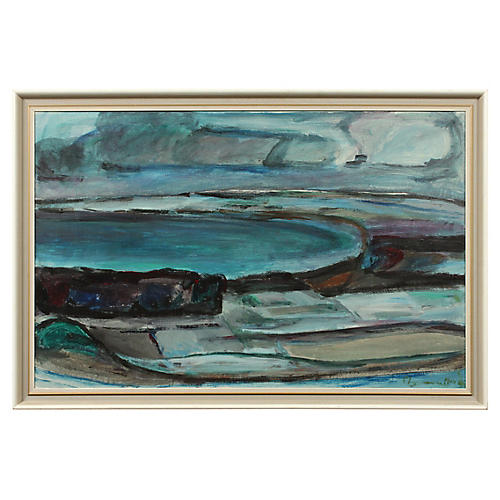 Midcentury Abstract Blue Landscape