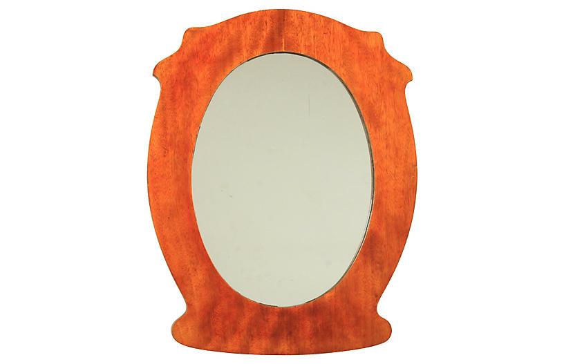 Biedermeier Oval Birch Mirror