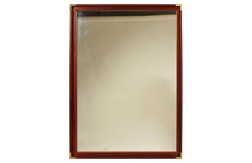 Empire-Style Wood & Brass Wall Mirror