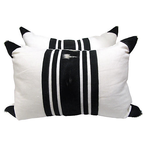 Pair Natural Hide & White Linen Pillows