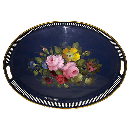 French Hand-Painted Tole Tray, C. 1940