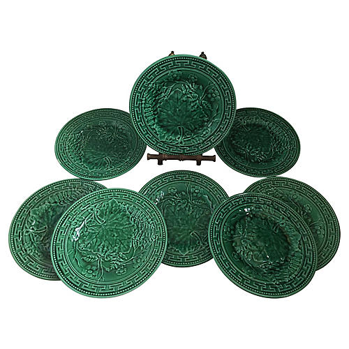 Majolica Greek Key Green Plates Set/8