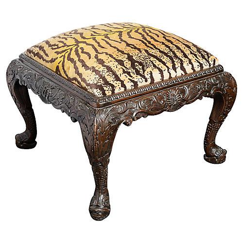 19th-C. Carved Mahogany Ottoman