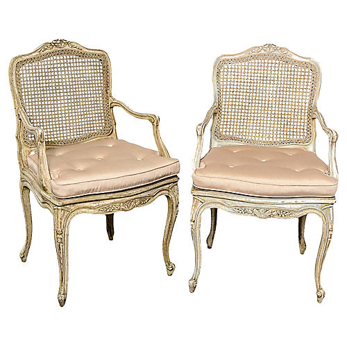 French Louis XV-Style Caned Chairs, Pair