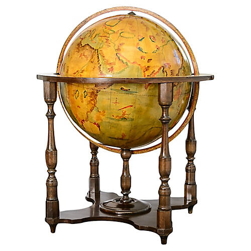 World Globe on Wood Stand Hand Painted