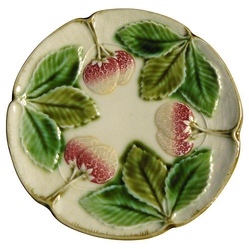 Majolica Strawberry Dessert Plates, S/4