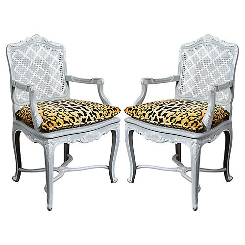 French Regency-Style Caned Chairs, Pair