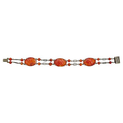 Deco Carnelian Chinoiserie Bracelet