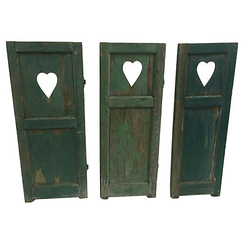 Weathered Heart Shutters, S/3