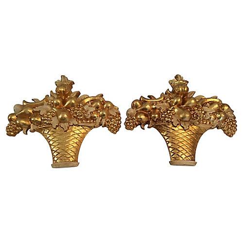 Italian Gold Gilt Fruit Baskets, Pair