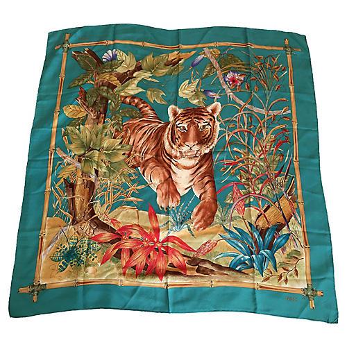 Gucci Tiger & Bamboo Silk Scarf