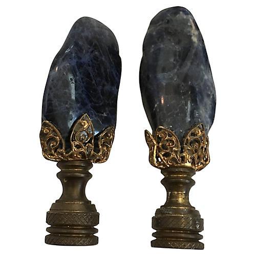 Natural Amethyst Lamp Finials, S/2