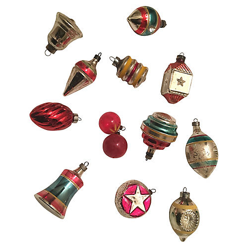 Assorted Glass Ornaments, S/13
