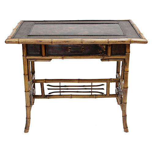 English Bamboo Lacquered Writing Table