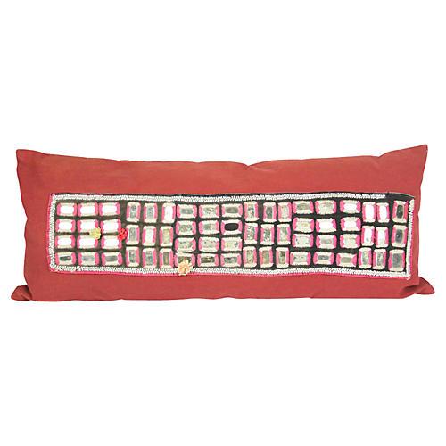 Aged Red Banjara Mirrored Pillow