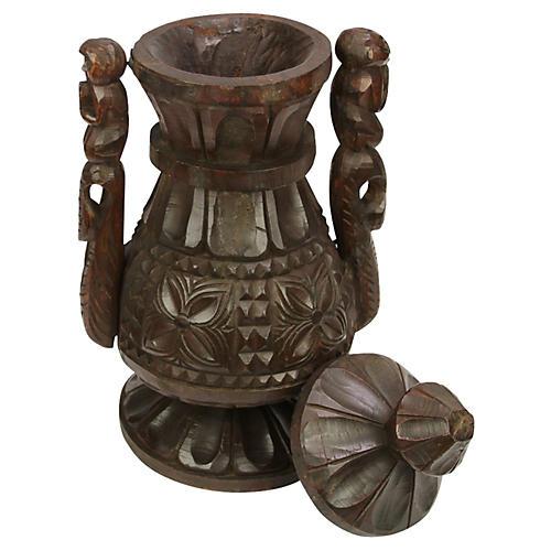 Naga Tall Carved Vessel w/ Lid