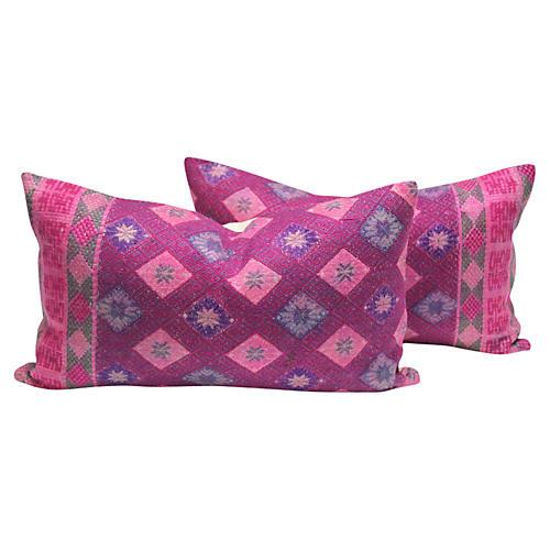 Benares Silk Brocade Pillows, Pair