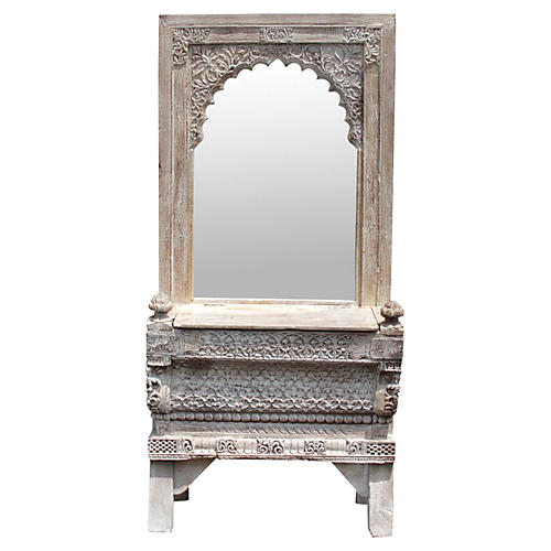 Architectural Whitewash Carved Vanity
