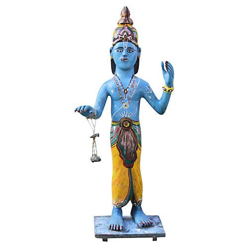 Antique Tall Blue Krishna Statue