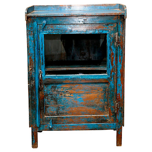 Distress Jodhpur Blue Painted Cabinet