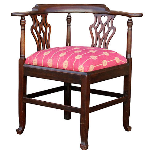 English Chippendale Corner Kantha Chair