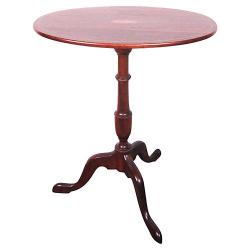 Oval Inlaid Tripod Table